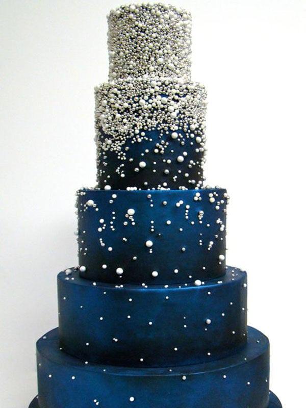 Diamond Studded Royal Blue Cake Wedding Cakes Home